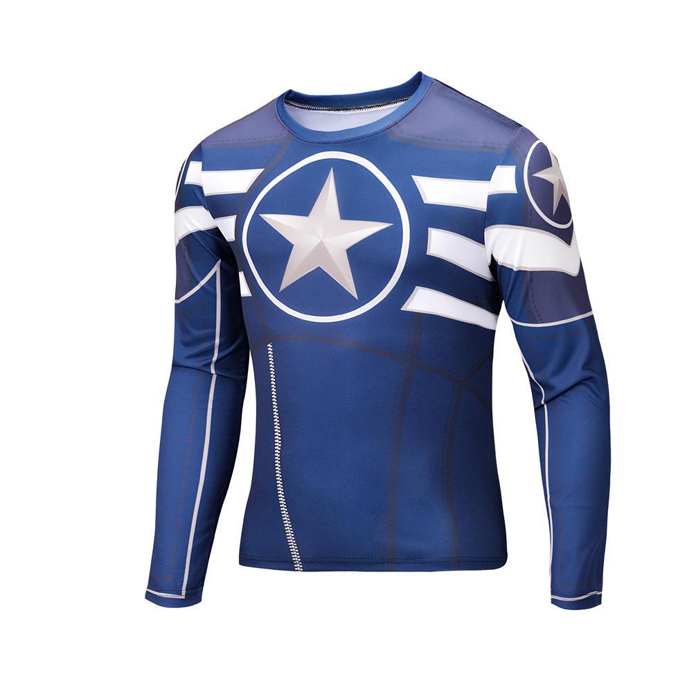 2016 Hot Super Ying Xia uniform pattern printing long-sleeved T-shirt trend of men and women casual fashion brand T-shirt T02(China (Mainland))