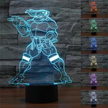 3D Visual Light Illusion Lamp Colorful Gradient LED Night Light Teenage Mutant Ninja Turtle Acrylic USB Table Lamp Free Shipping(China (Mainland))