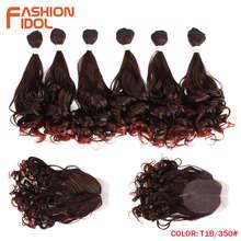 Мода IDOL глубокие пучки волнистых волос 7 шт./упак. 16-20 дюймов Омбре красные коричневые синтетические пучки волос с закрытием переплетения на...(China)