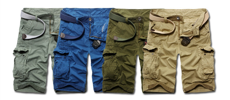 knee length zipper belt loose fit summer baggy short trousers army green,black,khaki mens polo cotton board shorts free shipping(China (Mainland))