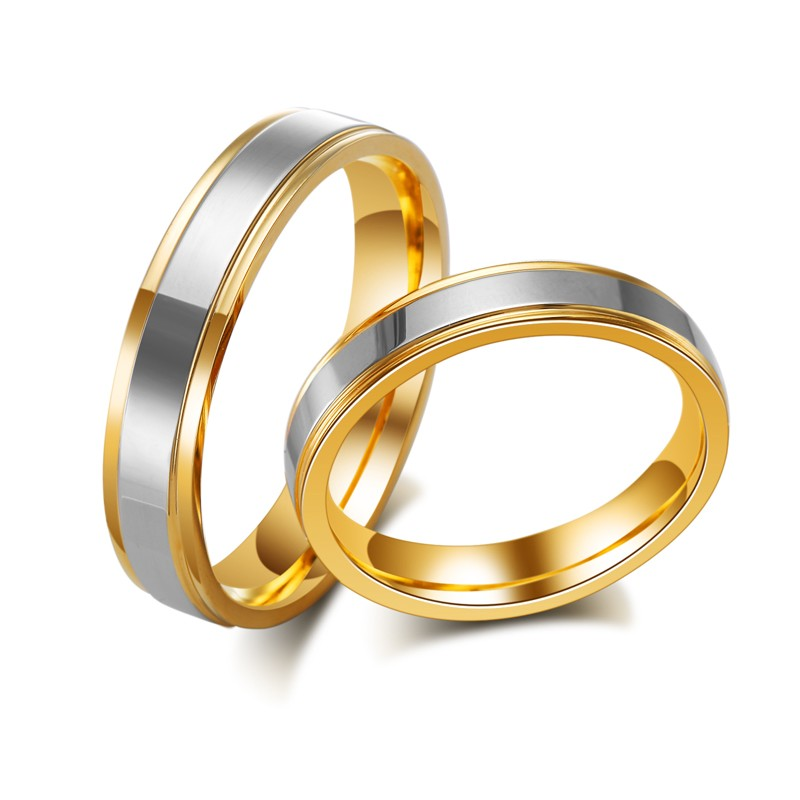 2016 Brand New 18K Gold Plated Stainless Steel Rings Lovers For Men And Women Wedding Ring