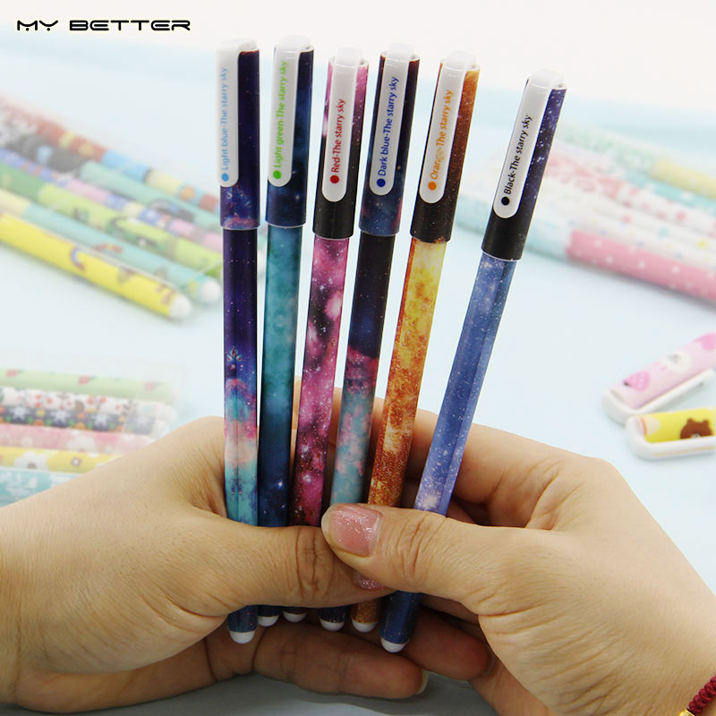 6 Pcs / set Color Gel Pen Starry Pattern Cute Kitty Hero Roller Ball Pens Stationery Office School Supplies(China (Mainland))
