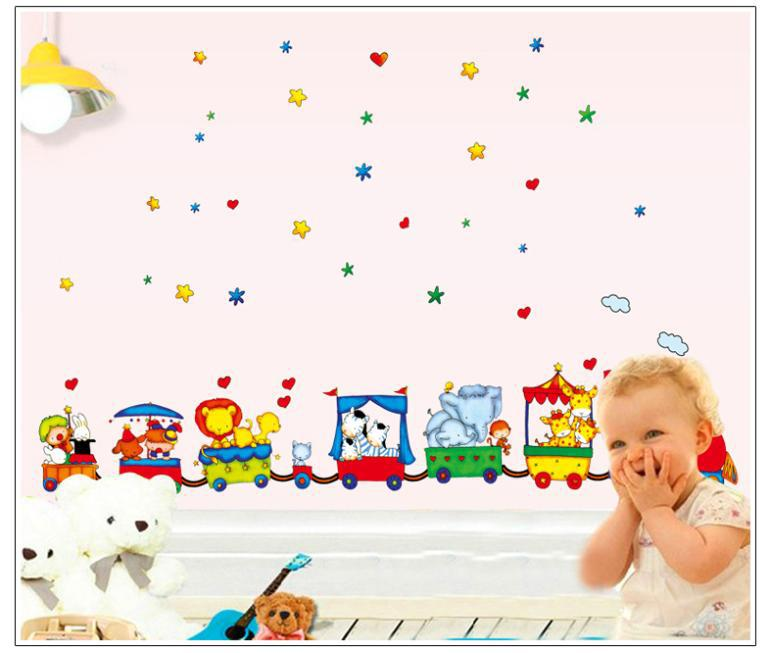 2015 High quality 170 * 120 cm Removable vinyl DIY art wall decor Mural colorful animal stickers Circus Train kids Room(China (Mainland))