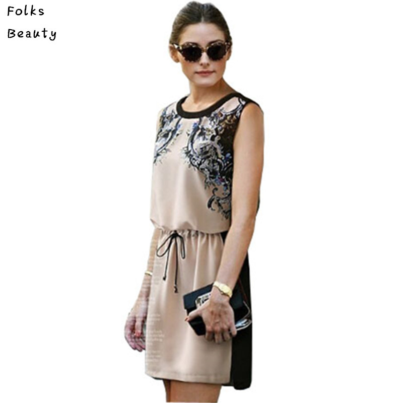 Vestidos Plus Size 2016 Summer Dress Women Casual Print Dresses Lady Sleeveless Waist S-4XL - Folks Beauty Co.,Ltd store