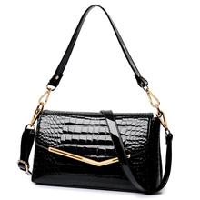 Realer brand women messenger bags crocodile pattern patent leather handbag 2016 new lady small shoulder bags envelope clutch