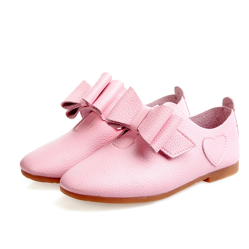 young girls leather shoes soft dancing flat shoes spring fall candy color girl's bow tie casual leather all-match princess shoes