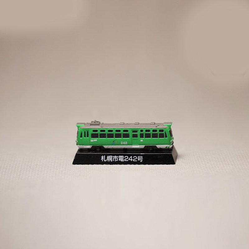1987 Green trolleybus No. 242 is about 5.5 cm Japanese model tram 1pc girl child toys anime figure PVC Action Figures Model(China (Mainland))