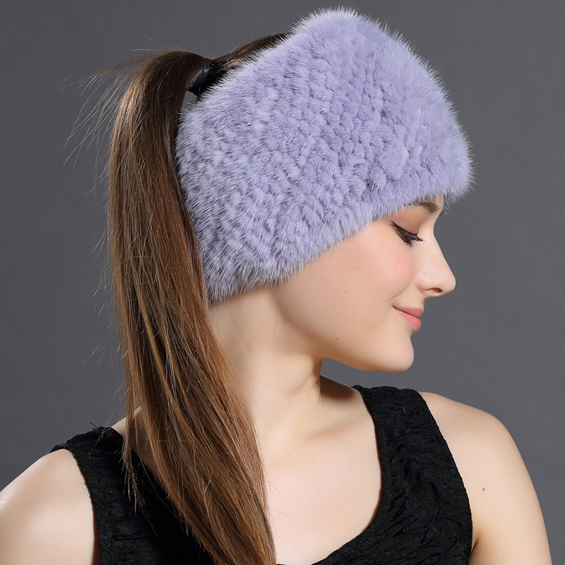 2016 Autumn Winter New 3 Use Knitted Hats&Winter Scarves For Women Warm Mink Fur Solid Beanies Hat High Quality Female Headband(China (Mainland))