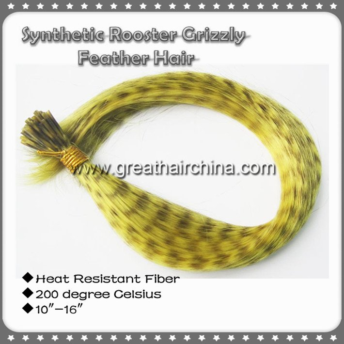 """1009Strands/Lot 10""""-16"""" Mixed 10 Colors Heat Resistant Fiber Synthetic Rooster Grizzly Hair Extension"""