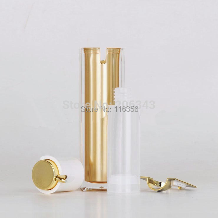 50ML square shape acrylic airless bottle lotion pump can used Cosmetic ,GOLD - all packing you want store