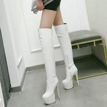 15.5 Cm Gợi Cảm Siêu Mỏng Cao Cấp Giày Bốt Thời Trang Nền Tảng Trên Đầu Gối Bằng Giày Bằng Sáng Chế Da Mùa Đông Hộp Đêm Nữ giày(China)
