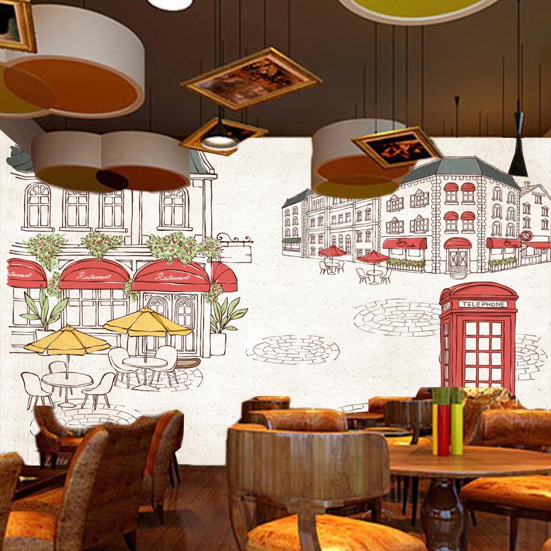 Home Furnishing Retro European Street Cafe Wall Decoration