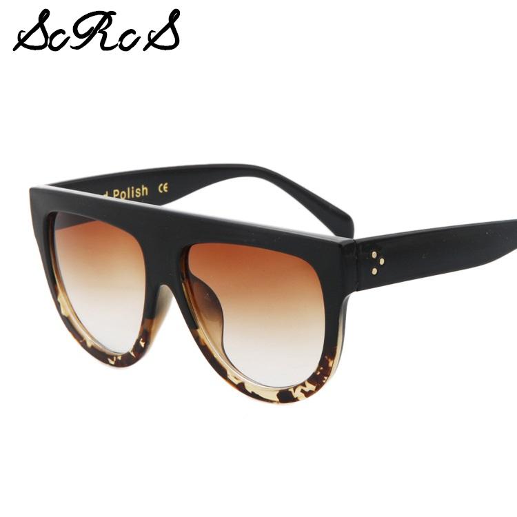 scrcs hot sale flat top sunglasses women brand designer oversized shades cat eye lunette de. Black Bedroom Furniture Sets. Home Design Ideas