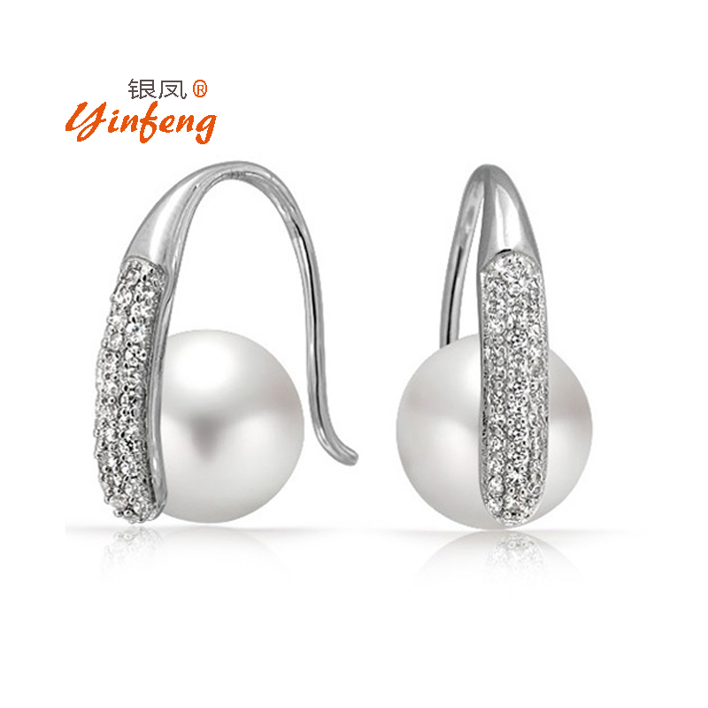 100% genuine freshwater pearl earrings for women  s925 sterling silver jewelry high quality 9-10mm pearl gift box<br><br>Aliexpress