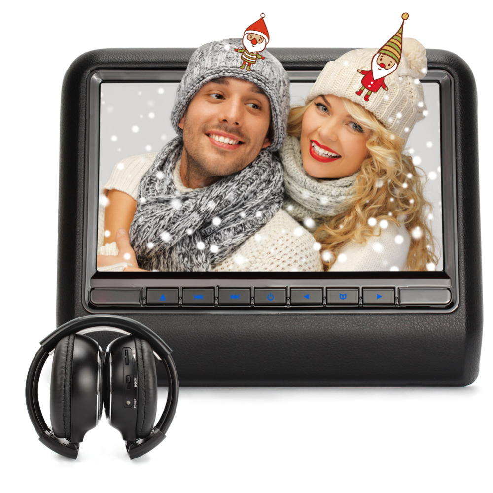 "Christmas Gift!!! 10"" Car Headrest DVD CD Player Game TFT Screen 1024*600 USB SD FM Portable Car Monitor + IR Headphone(China (Mainland))"