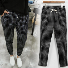 Free shipping 2016 new summer fashion black and white plaid pants large size loose casual pants elastic waist harem pants XL-5XL