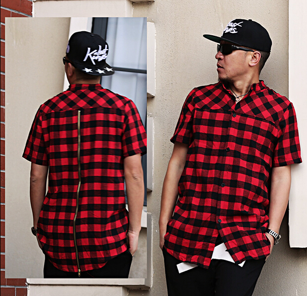 new cool exclusive flannel zip shirt hip hop plaid