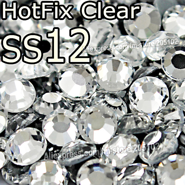 SS12 3-3.2mm,1440pcs/Bag Clear DMC HotFix FlatBack Rhinestones,DIY garment Hot Fix strass heat Iron On crystal glitters stones