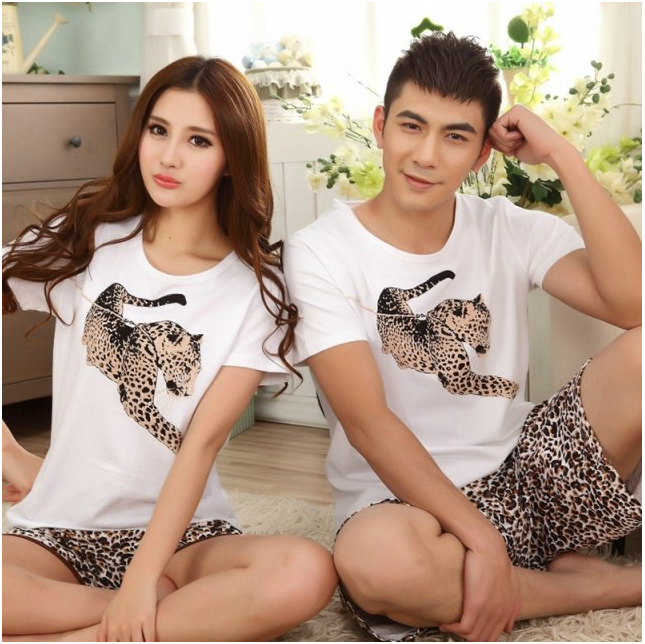 2015 Summer Short Sleeve Leopard Pajamas Women Cotton Sleepwear Animal Print Couple Pajama Sets Home Clothing - Three girl store