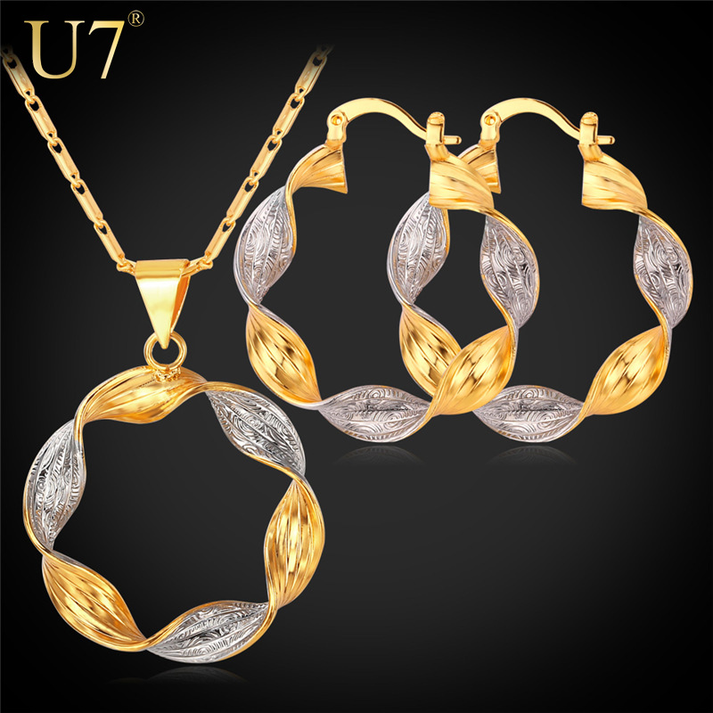 Women Jewelry Sets Dubai Unique Design Mix Platinum/18K Real Gold Plated Two Tone Round Earrings Pendant Necklace Set S663(China (Mainland))