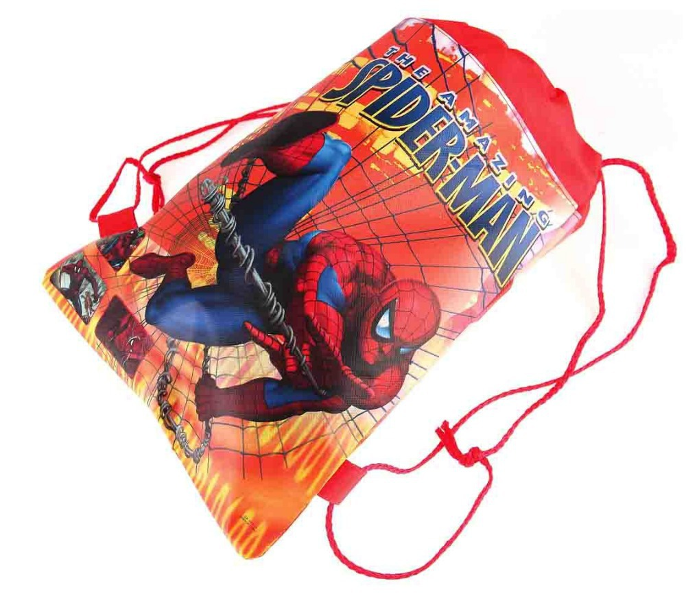 CM418 2015 new Kids Cartoon Printed Drawstring Bag 36cm 28cm children s spider man school bags