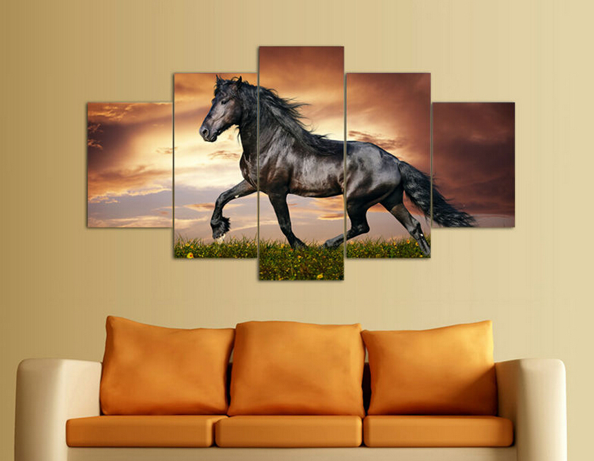 5 panel modern printed large horse painting picture animal. Black Bedroom Furniture Sets. Home Design Ideas