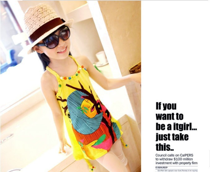 2013 Latest Summer Clothing  Abstract Graffiti Twist Beads Skirt With Shoulder-straps Sundress   Free Shipping 15pcs/lot
