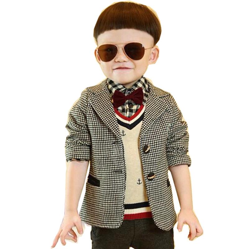 hot sale children clothing boy clothes cute plaid suits boy blazer(China (Mainland))