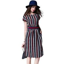 Buy Europe Stripe Long Summer Dress Dress Vestidos Mujer 2017 Ukraine Office Work Dress Robe Longue Femme Ete Vestidos Longo 71645 for $15.32 in AliExpress store