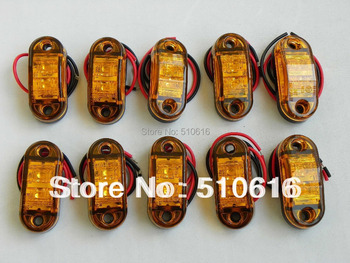 Free shipping 10 Pcs Amber Emark/DOT/SAE waterproof Multivolts10-30v led truck clearance lights/ Trailer light side marker light