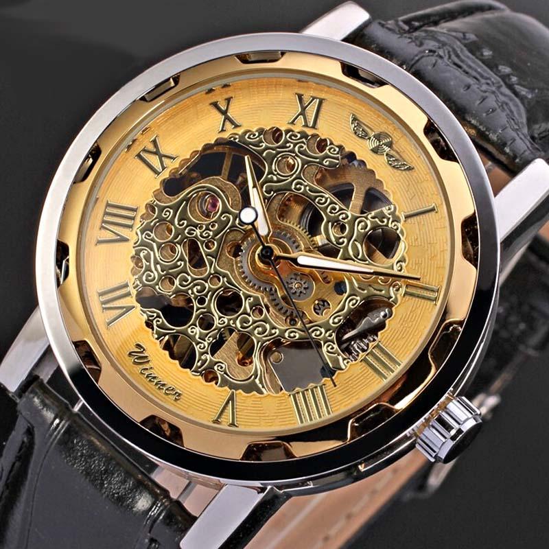 часы winner skeleton gold масляной основе пришли