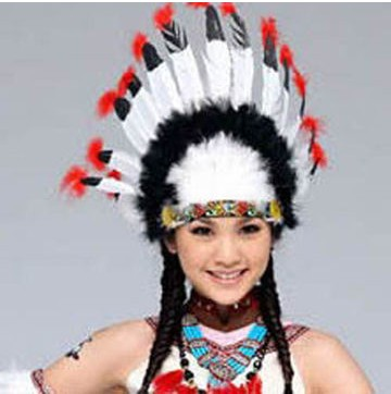 New Hot Halloween Masquerade Dress Color Feather Headdress Thanksgiving Cosplay Indian Chief Props Feathered Headdress(China (Mainland))