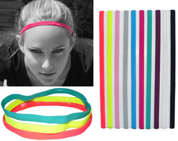 1pcs Free S Women Men Sports Headband Anti-slip Elastic Rubber Sweatband Football Yoga Running Sports Black Pink(China (Mainland))
