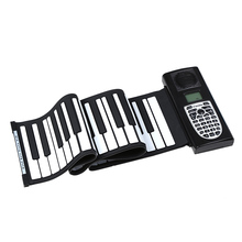 Stylish Portable 61 Standard Keys Soft Keyboard Roll Up Piano with LCD Silicone Electronic Piano 3D True Type Keys.(China (Mainland))
