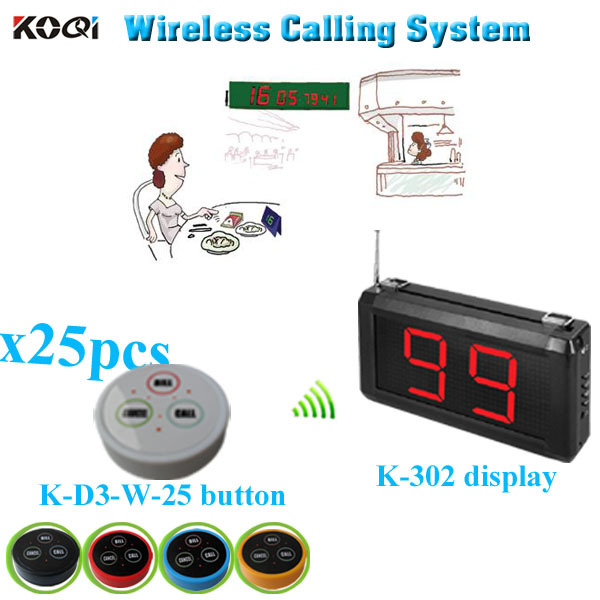 Restaurant Wireless Service Calling System with K-302 monitor K- D-3 transmitter button (1 display+25 table bell button)(China (Mainland))