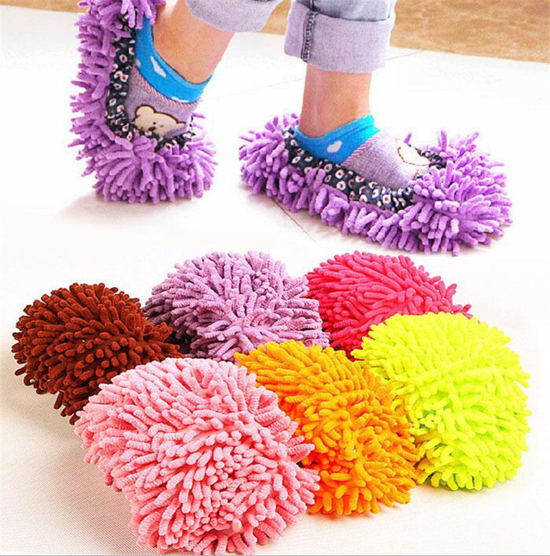 1 pair release foot cleaner shoes 6 colors for mop slipper floor dust clean shoe cover home tools easy use lazy mop shoes DA(China (Mainland))