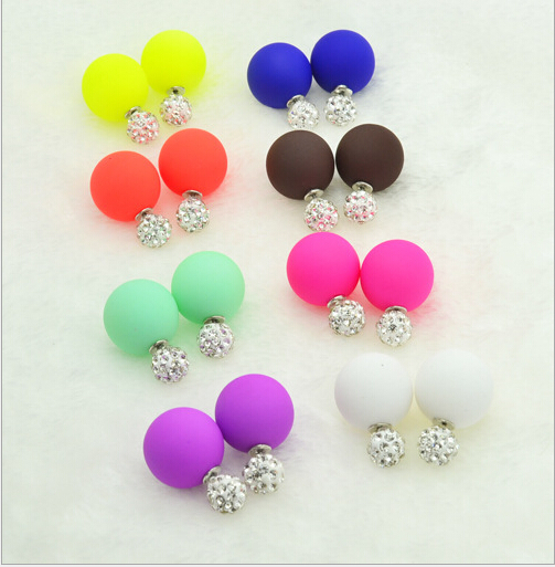 Hot Sale Colorful Simulated Double Side Pearl Earrings Candy Matte Color Big Pearl Ball Rhinestone Ball Gift For Women Girl(China (Mainland))