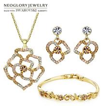 Neoglory MADE WITH SWAROVSKI ELEMENTS Rhinestone Jewelry Set 14K Gold Plated Elegant Flower Style Necklace & Earring & Bracelet(China (Mainland))