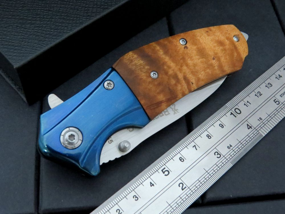 Buy Updated Folding Blade Knife B55 Survival Tactical Tool 5CR15Mov 57HRC Wood Handle Camping Hunting Tools Outdoors Pocket Knives cheap