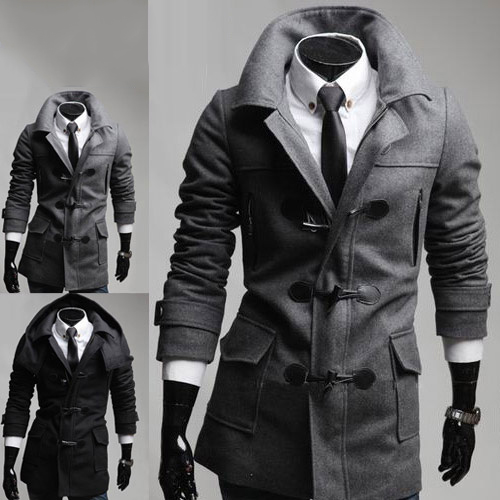 Men's Trendy Slim Fit Toggle Coat Duffle Coat With Hoodie Black Grey Coats Notched Collar Windproof Stylish Men Jacket(China (Mainland))