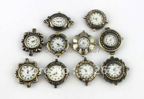 10PCS Mixed Lots Antiqued Bronze Watch Face charm #20960