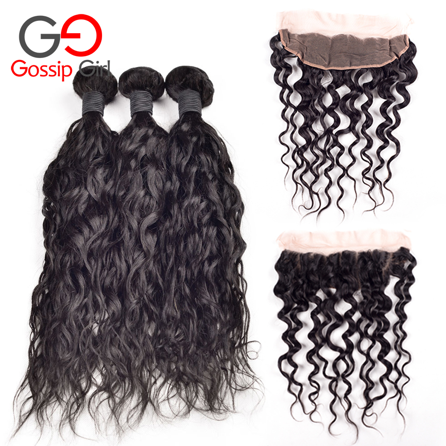 6A Malaysian Virgin Hair Natural Wave With Closure Free Part Ear To Ear Lace Frontal Closure With Bundles 4Pcs/Lot Natural Color<br><br>Aliexpress