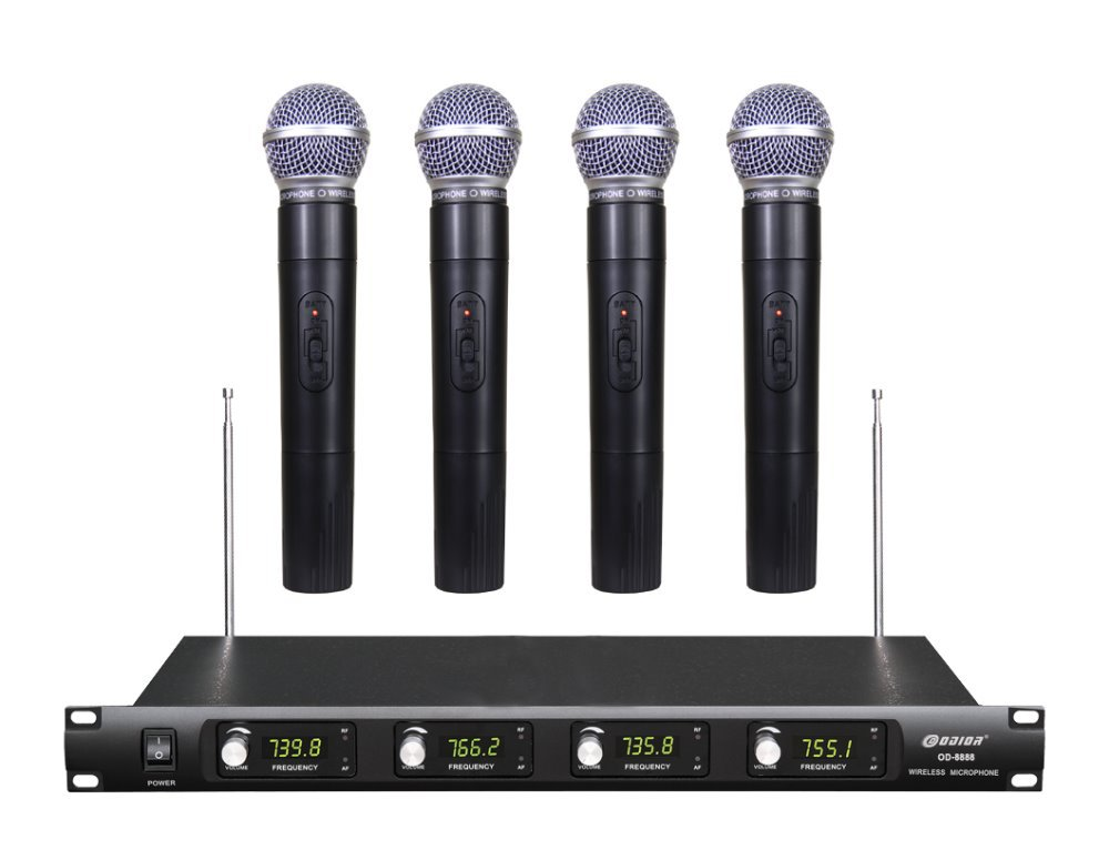 Ship by DHL FEDEX EMS 4 Channel Cordless Microphone System UHF Wireless Karaoke Microphone System LED 4 Mic (4 Handheld)(China (Mainland))
