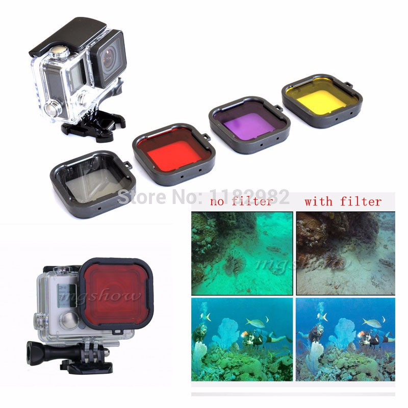Free shipping + tracking number 4PCS Lens Filter Diving Filter Gopro HERO 3+ 4 Camera Housing Case Underwater Lens Converter(China (Mainland))