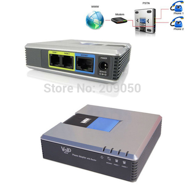 Retail B Hi Quality PAP2T Internet Phone Adapter Fr Voice over IP VoIP Gateway Linksys FS on