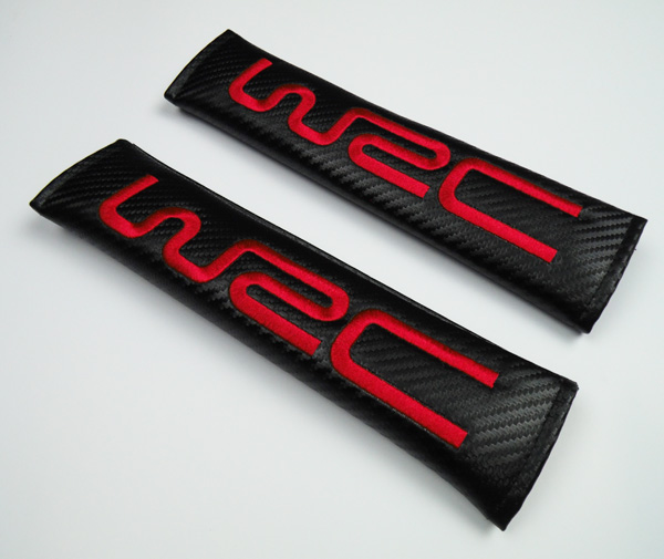 2 x car Red WRC World Rally Championship Embroidery Seat Belt Shoulder Pads Cover Cushion