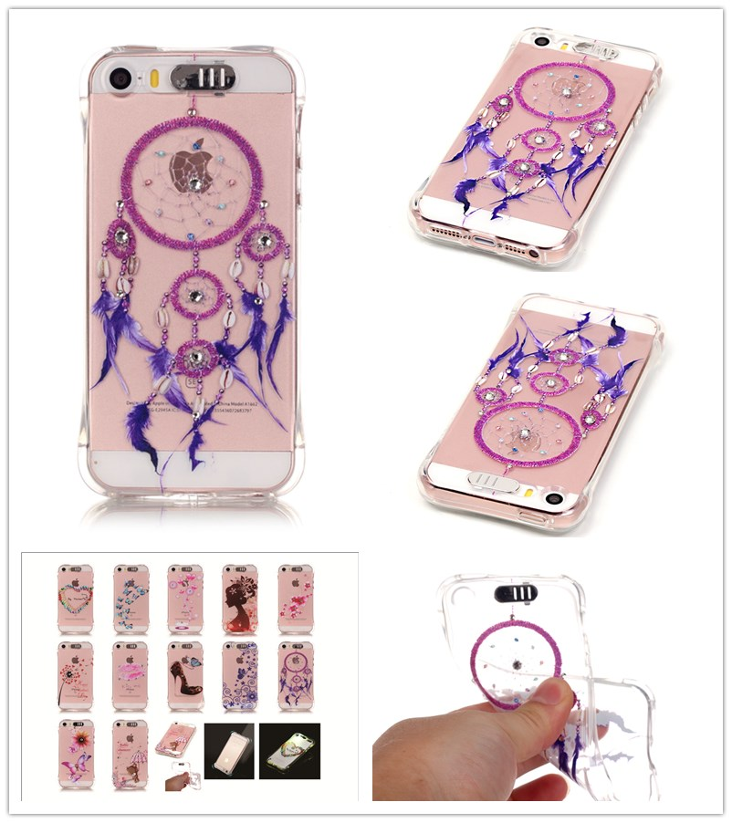 For iPhones 5 5S SE Case Shatter-resistant Gas cushion shining Case Luxury Diamond Jewelry transparent TPU case(China (Mainland))