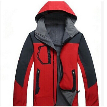 Fashion Hot Outdoor sports clothing men soft shell jacket water repellent breathable fleece hooded face jacket(China (Mainland))