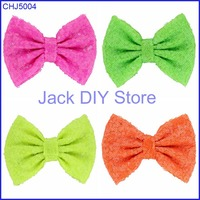 "Free Shipping 10pcs/lot  5"" Big Messy Sequin Bows  for Baby Headband ,Hair Bow WITHOUT Clips, Hair Band  Hair Accessories"