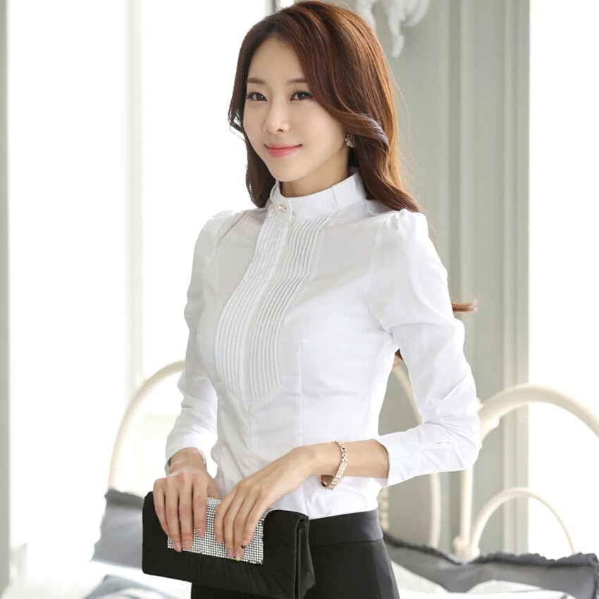 Detailed Picture about 2015 Women autumn occupation stand collar shirt ...